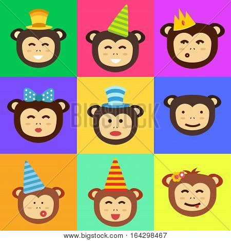Happy cartoon vector monkey head dancing party birthday. Jungle animals cartoon flat style. Chimpanzee nature funny character playful primate.