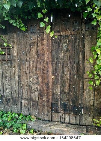 Puerta antigua en la huerta de una ciudad