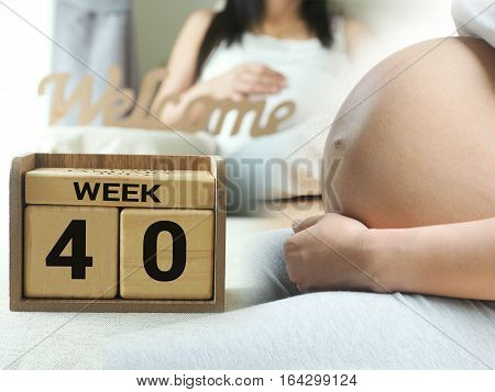 Calendar With Weeks 40 Of Pregnant With Pregnancy Woman Background. Maternity Concept. Expecting An