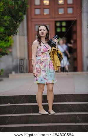 Pretty Young Woman Having Fun In The City With Camera Travel Photo Of Photographer