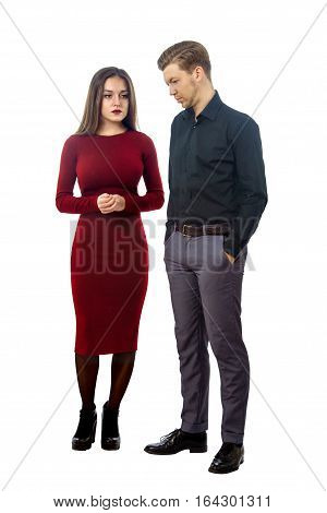 Sad Girl In Red Dress And Resentful Guy