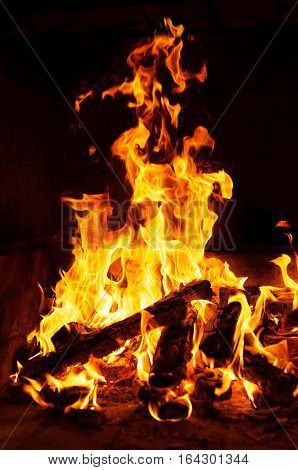 Closeup image of fire and wood burning in a fireplace