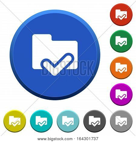 Folder ok round color beveled buttons with smooth surfaces and flat white icons