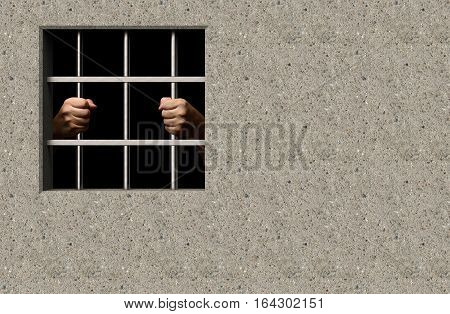 Prisoner in jail window with hands 3D illustration