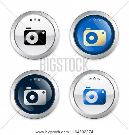 Camera or photography seals or icons with camera symbol. Glossy silver seals or buttons.