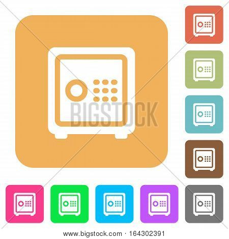 Strong box flat icons on rounded square vivid color backgrounds.