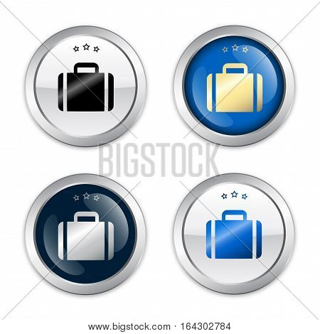 Travel seals or icons with luggage symbol. Glossy silver seals or buttons.