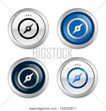 Navigation seals or icons with compass symbol. Glossy silver seals or buttons.