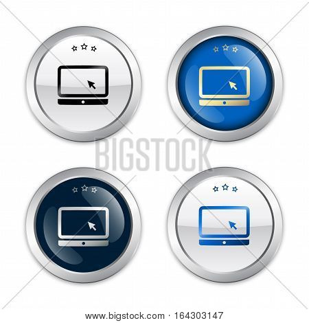 Free Wifi guaranteed seals or icons with laptop symbol. Glossy silver seals or buttons.