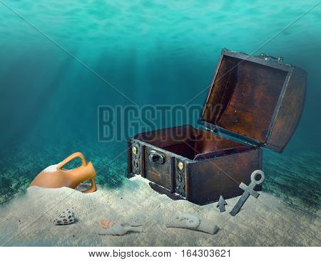 Collage Of Opened Empty Old Wooden Treasure Chest Submerged Underwater World With Anchor, Amphora An