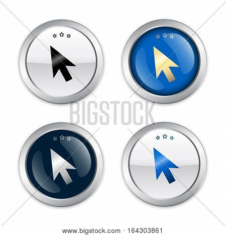 Click here seals or icons with computer mouse symbol. Glossy silver seals or buttons.