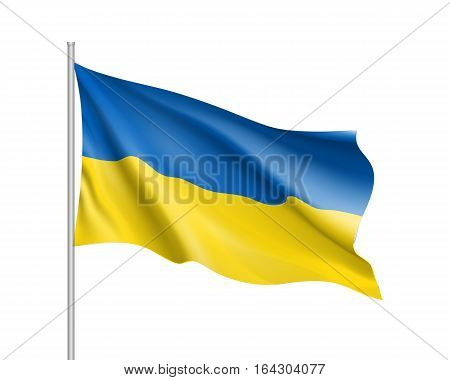 Vector template of Ukraine flag on metallic pole. Waving flag of Ukrainian on flagstaff- country symbol. Isolated illustration on white background. 3d icons with blue and yellow colors.