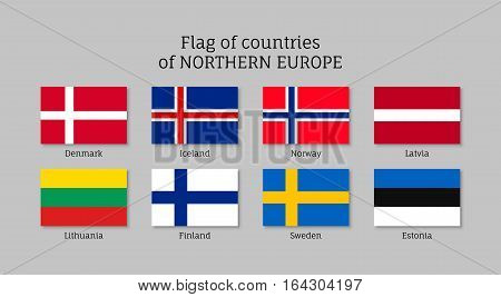Set of flat flags of Northern Europe countries. States national ensigns: Estonia and Norway, Latvia and Lithuania, Iceland and Finland, Sweden and Denmark. Vector icons isolated on white.