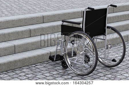 Wheelchair in front of stairs 3D rendering