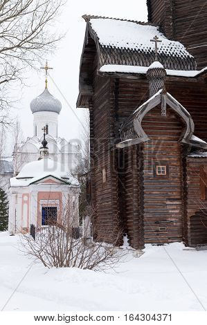 Spaso-Priluckiy monastery. All Saints Church. Vvedensky church. Catherine's church-crypt. Vologda. Travel north Russia. Ancient architecture. Saviour Priluki Monastery in winter frosty day. Wooden architecture