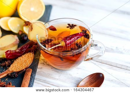 Warming Spicy Tea With Ginger, Lemon And Chilli