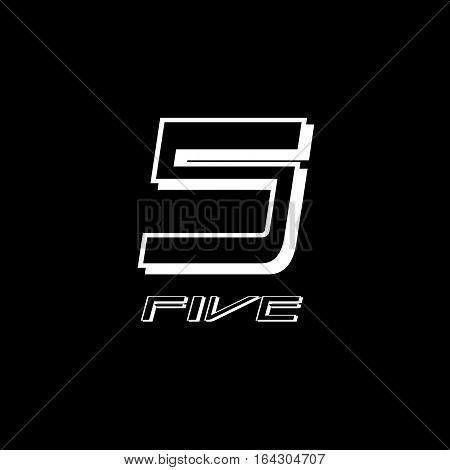 five numeral vector design illustrator with black background