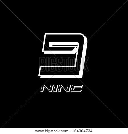 nine numeral vector design illustrator with black background