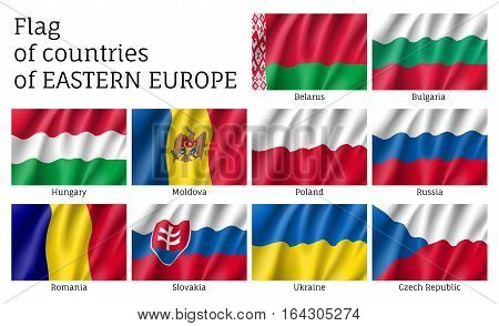 Set of vector waving flags of Eastern Europe countries. Ensigns on flagpole - symbols of Eastern Europe states. 3d icons isolated on white background.