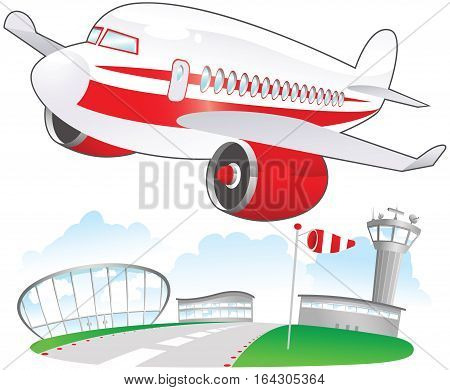 An illustration of a jet plane taking off at the airport.