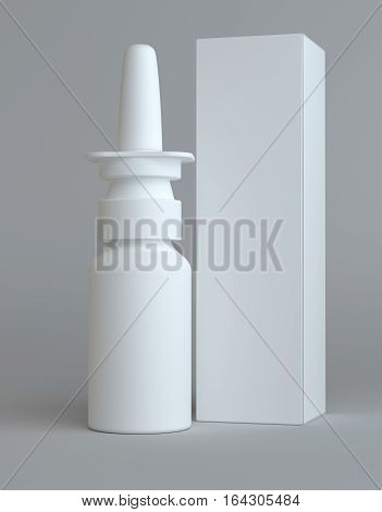 Spray nasal plastic bottle and tall white paper box for medical packaging mock up. Gray background. 3D illustration