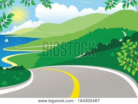 An illustration of a winding coastal road on a sunny day.