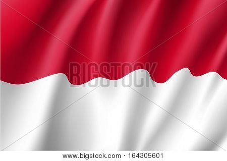 Waving flag of Monaco. Vector illustration of 3D icon with red and white colors.