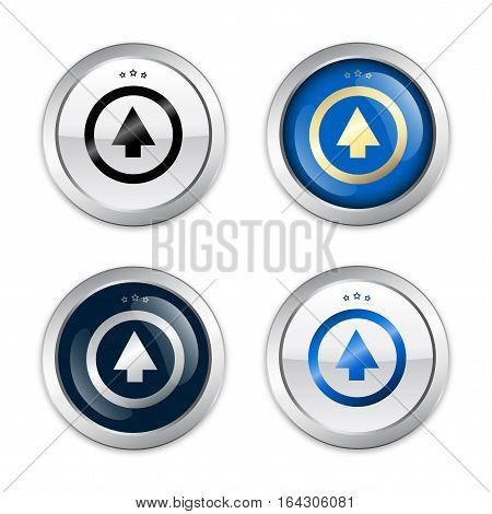 Upload seals or icons with arrow symbol. Glossy silver seals or buttons.