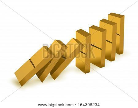 Falling dominoes. Gold Icon game of dominoes. Board game Domino. Domino icon vector for web. Push domino.