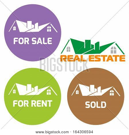 Round sign Sold, For sale circle sign, For rent sign. Vector illustration sign green home Real Estate Sold Home For Sale Real Estate Sign isolated on white.