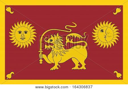 Flag of Sabaragamuwa Province is one of the nine provinces of Sri Lanka. Vector illustration
