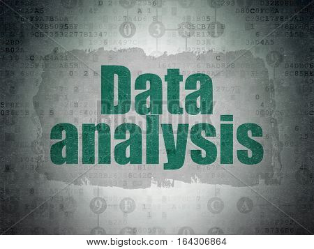 Data concept: Painted green text Data Analysis on Digital Data Paper background with  Scheme Of Hexadecimal Code