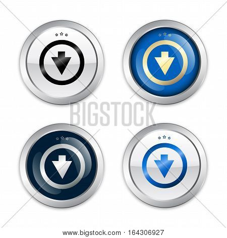 Download seals or icons with arrow symbol. Glossy silver seals or buttons.