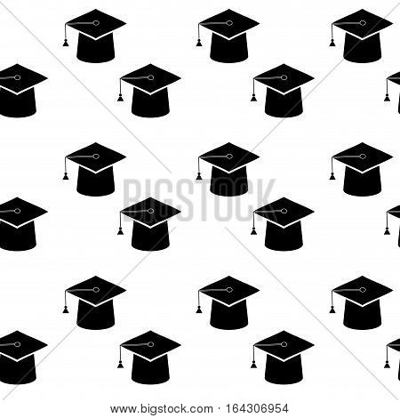 Graduation education cap seamless pattern. Achievement in university ceremony to academic background. Vector illustration
