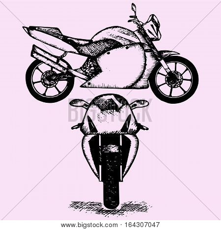 sport motorcycle, doodle style sketch illustration hand drawn vector