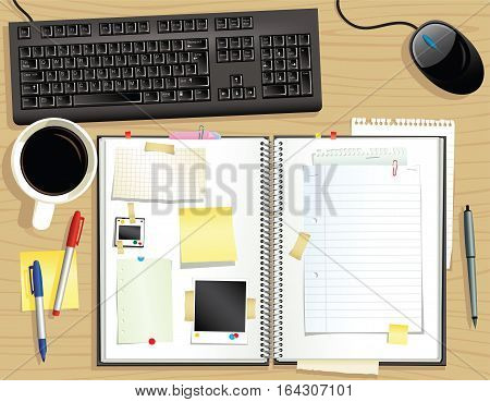 An illustration of a typical scrapbook viewed from above. Plenty of room for your own message.