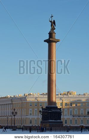 07.01.2017.Russia.Saint-Petersburg.The Alexander column is the tallest monument made out of solid stone.