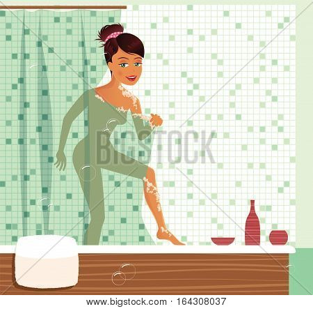 An image of a young woman peeking from behind a shower curtain.