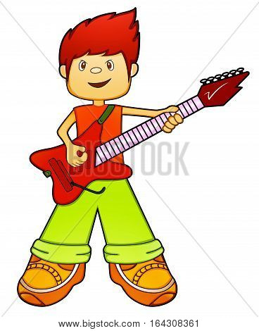 Guitarist Boy with Electric Guitar Cartoon. Vector Illustration.