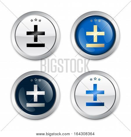 Mathematical seals or icons. Glossy silver seals or buttons.