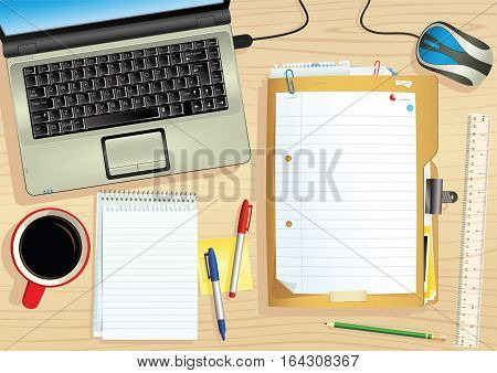 An illustration of a typical office desk - plenty of blank space for your own message.