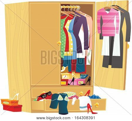 An image of a wooden wardrobe full of clothing.