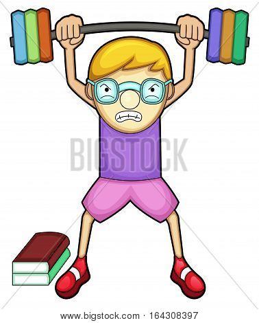 Nerd Boy Exercising Cartoon Character. Vector Illustration.
