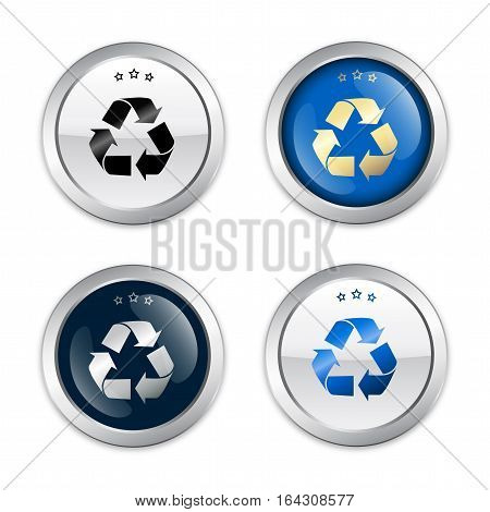 Recycling seals or icons with recycle symbol. Glossy silver seals or buttons with stars.