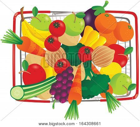 An overhead view of a wire shopping basket containing various fruit and veg.