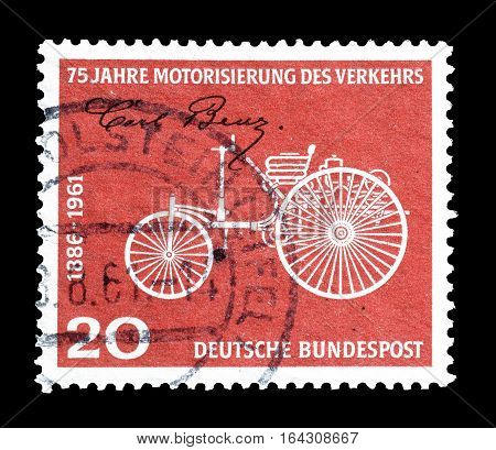 GERMANY - CIRCA 1961 : Cancelled postage stamp printed by Germany, that shows Benz motor vehicle.