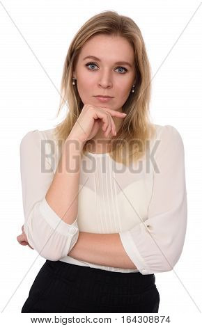 Thoughtful Young Woman Isolated