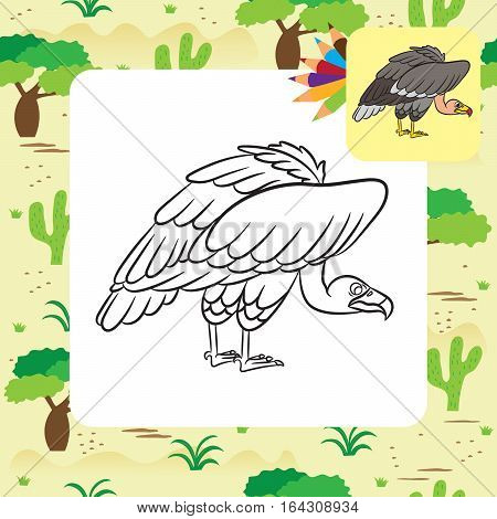 Cartoon vulture image. Coloring page. Vector illustration