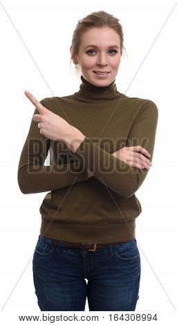 Woman Pointing Finger To Copy Space