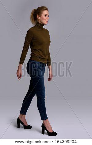 Casual Young Woman Walking